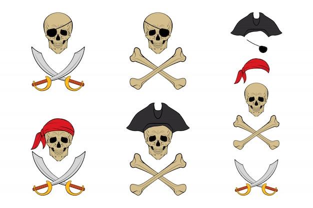 海賊頭蓋骨セット。テンプレート。
