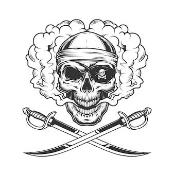 두건과 눈 패치를 입고 해적 두개골