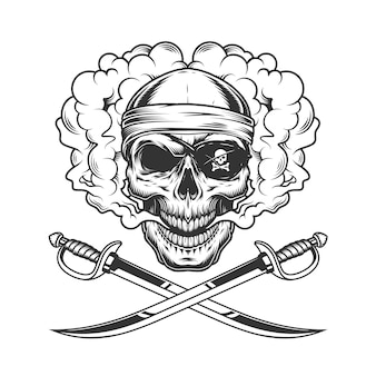 Teschio pirata indossa bandana e benda sull'occhio