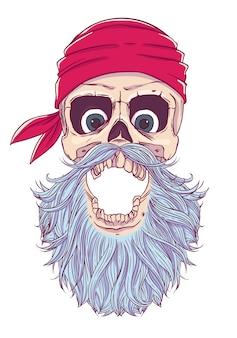 Пиратский череп с открытым ртом, с завязанными глазами, бандана и борода
