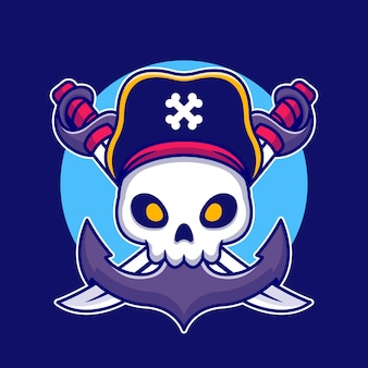 Pirate skull with anchor cartoon illustration