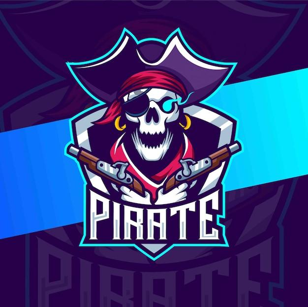 銃のマスコットのeスポーツのロゴデザインと海賊の頭蓋骨