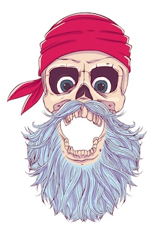 Pirate skull with an open mouth, a blindfold, bandana and beard