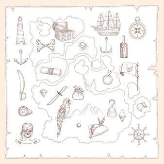 해적 기호입니다. 보물 중세 바다 선박 및 무기의 고대 오래된 지도 오래된 해양 생물은 해상 물체를 벡터합니다. 그림 양피지 지도, 고대 지도 제작 빈티지, 보물 및 골동품