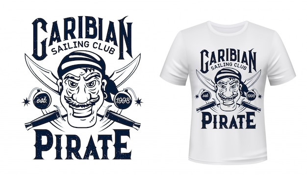 Pirate t-shirt print  of sailing sport club