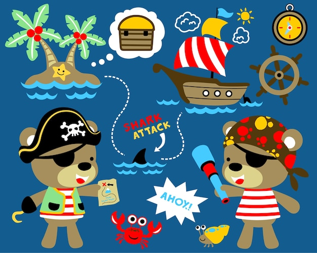 Pirate theme set vector with funny sailors cartoon