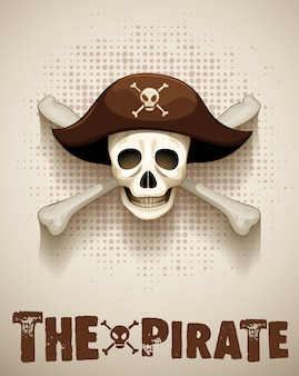 Pirate theme with pirate skull