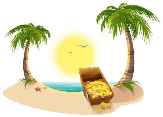 Пиратский сундук с сокровищами на тропическом острове