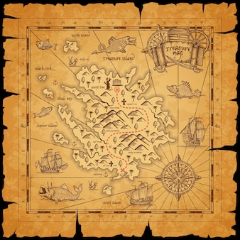 Pirate treasure island ancient map. route dotted line among mountains, mark for chest with treasures and sailing in ocean caravels, sea monsters on piece of parchment paper with torn sides