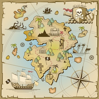 海賊の宝島のベクトルマップ。海の船、冒険の海、頭蓋骨と紙、ナビゲーションアートと大砲のイラスト