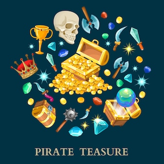 Pirate treasure isometric icons set