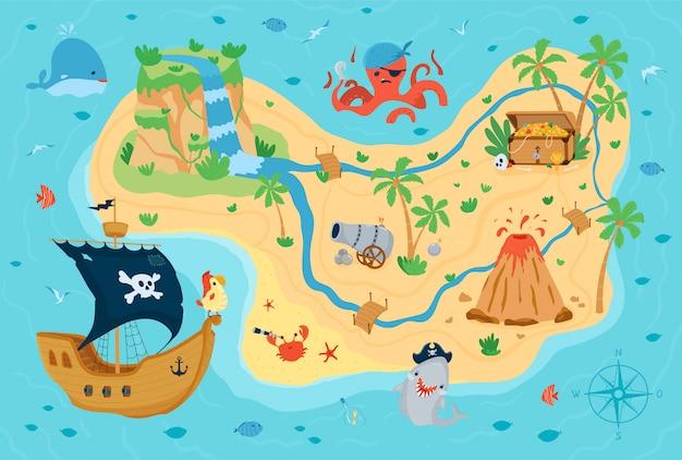 만화 스타일의 어린이를위한 해적 보물지도. 아이 방 디자인을위한 귀여운 개념.