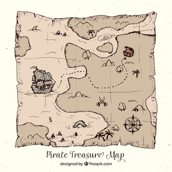 Pirate treasure map in hand-drawn style