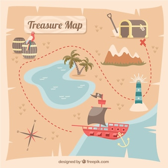 Pirate treasure map with route