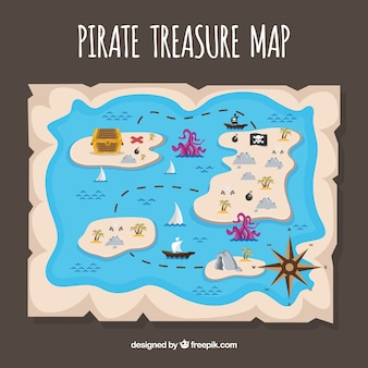Pirate treasure map with several islands
