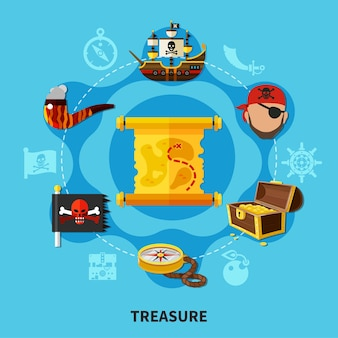 Pirate treasure with chest of gold, map, jolly roger round cartoon composition on blue background