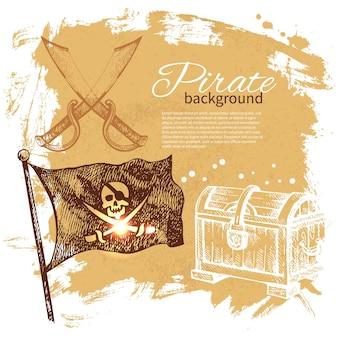海賊ヴィンテージ背景。海の航海のデザイン。手描きイラスト