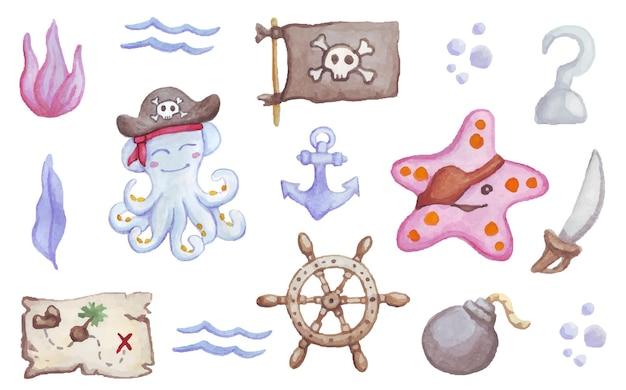 해적 수채화 세트 문어 해적