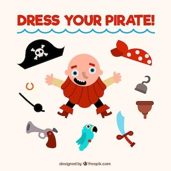 フラットデザインのアクセサリーを持つ海賊