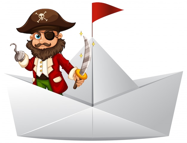 Pirate with sword standing on paper boat