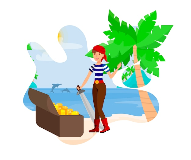 Pirate woman found treasure vector illustration