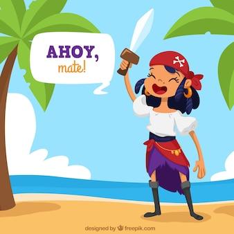 섬 배경에서 해적 여자