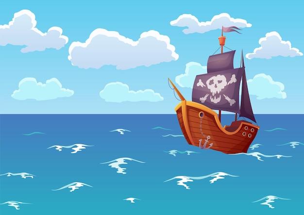 海の海賊の木造船。アンティークヨットで熱帯の海の風景を宣伝。海の波を解剖する頭蓋骨の帆を備えた孤独なヨット。