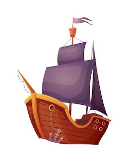 白い背景で隔離の海賊木製船。アンティークヨットでの航海旅行の宣伝