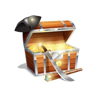 Деревянный сундук с сокровищами из пиратского дерева, золотая подзорная труба из стекла и черная треугольная шляпа