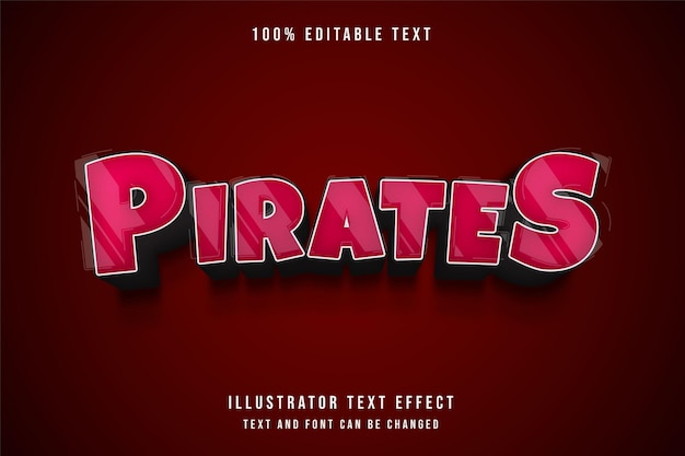 Pirates,3d editable text effect red gradation comic style