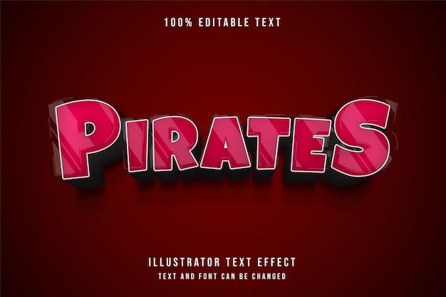 Пираты, 3d редактируемый текстовый эффект красной градации в стиле комиксов