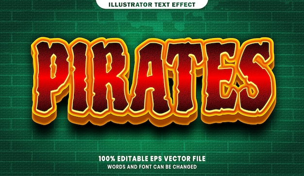 Pirates 3d editable text style effect