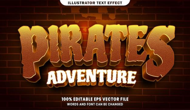 海賊の冒険編集可能なテキストスタイルの効果