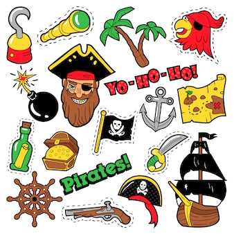 Пиратские значки, патчи, наклейки - корабль, скрещенные кости и скелет в стиле поп-арт комиксов для текстильной ткани. иллюстрация