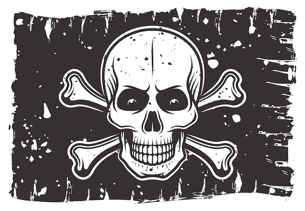 Пиратский черный флаг, на котором изображены череп и скрещенные кости иллюстрация