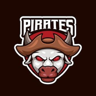 最高のチームのための海賊牛eスポーツロゴデザイン