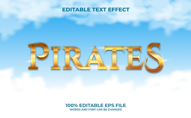 Pirates editable text effect premium vector