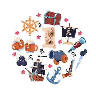Pirates elements cartoon set