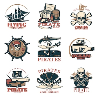 Pirates emblem set in color with pirate adventures pirates of caribbean pirate battles and many different headlines