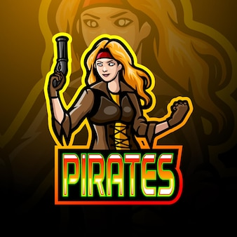 海賊少女マスコットスポーツeスポーツロゴデザイン