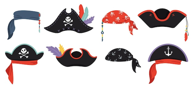 Pirates hats. sea piracy cap fashion, buccaneer headgear, headdress accessory to party with roger, vector illustration