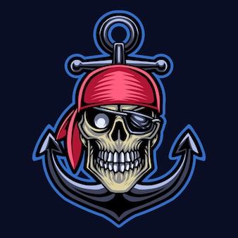 해적 머리 마스코트 로고