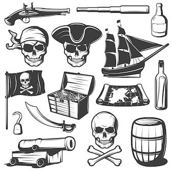 Pirates icon set with skulls treasures and pirate weapons black and isolated