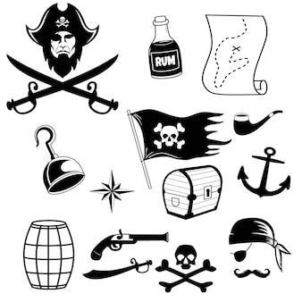 해적 아이콘은 두건과 뼈 hookhat 오래 된 선박 앵커 배럴 럼과 세이버 두개골을 설정