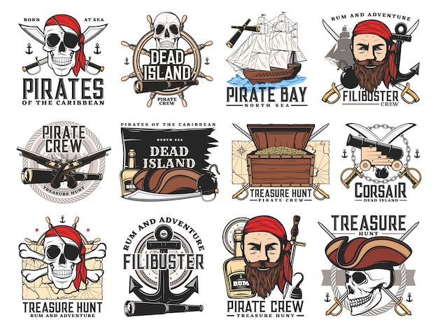 Pirates island, treasure hunt adventure and filibuster crew emblems