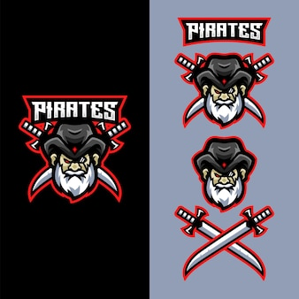 Pirates mascot logo for sports gaming esports team