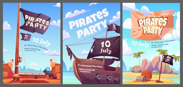 Pirates party kids adventure cartoon posters with treasure chest with gold on secret island