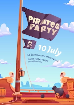 Pirates party poster Free Vector