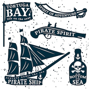 Pirates quote set with tortuga bay spirit of adventure at the bottom of the sea descriptions