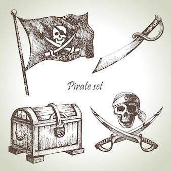해적 세트입니다. 손으로 그린 삽화